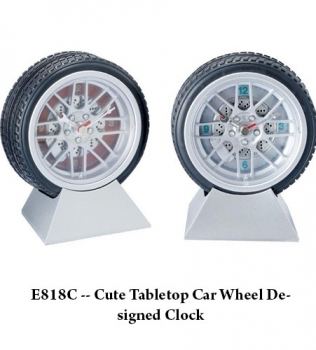E818C — Cute Tabletop Car Wheel Designed Clock