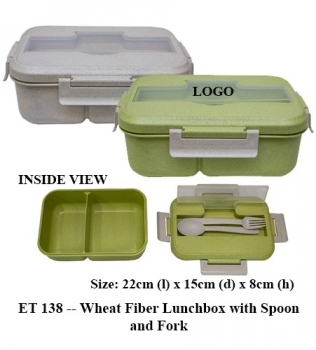 ET 138 — Wheat Fiber Lunchbox with Spoon and Fork