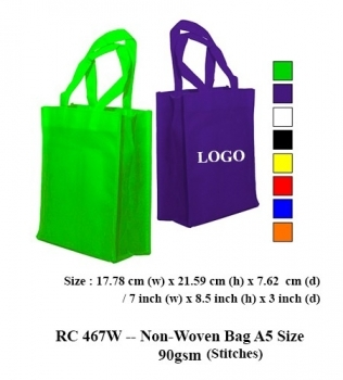 RC 467W — Non-Woven Bag A5 Size 90gsm (Stitches)